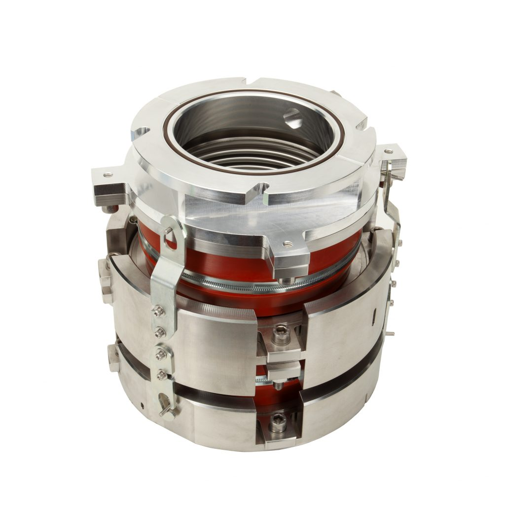 Nested Turbo pump weighted vibration isolated flange